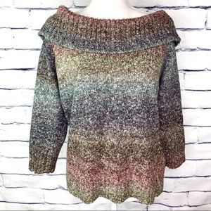 AGB Cold Shoulder Multi-Color Long Sleeve Sweater